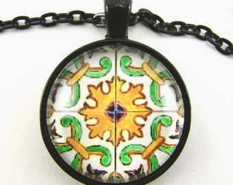 MOROCCAN FESTIVAL Necklace -- Kaleidoscope in sunny shades of orange green & white, Spanish tile, Geometric art,  Arabic design