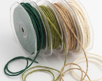 Hessian String in Rustic Rolls Natural, Sage, Ivory & Dark Green
