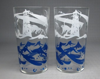 Set of 2 vintage glasses , with lighthouse , seagulls , waves , blue and white , looks like vintage 1940's / 1950's .