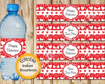 Water Bottle Labels, Valentine's Day, Editable in Acrobat Reader, Instant Download, DIY, Printable, Red White, Hearts