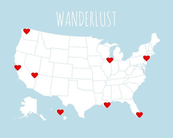 Usa travel map first year anniversary gift diy kit art usa travel map first year anniversary gift diy kit art print and heart stickers usa map print for travelerscouples gifts under 25 8x10 gumiabroncs Image collections