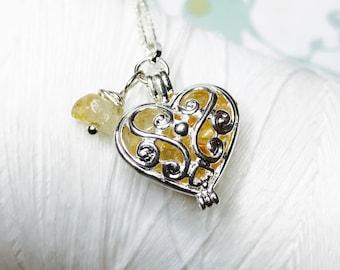 Medaillon - Citrin Herz Medaillon Sorge / Herz Medaillon Silber Medaillon / Citrin Kette / Herz Halskette / floating Medaillon / Citrin Medaillon