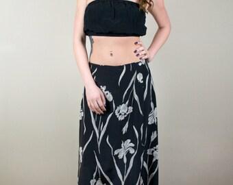 Vintage Silk High Waisted Maxi Skirt Black Floral Lily Print 1980s