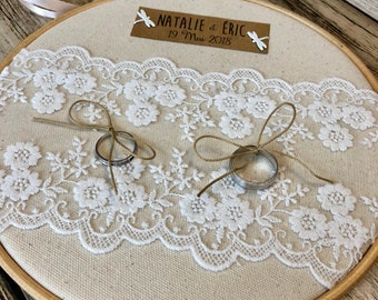Ring pillow linen & lace embroidery hoop