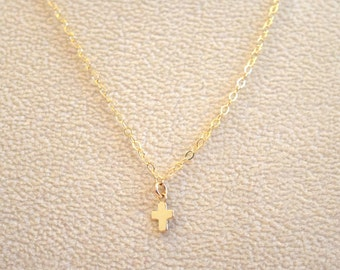 Tiny Gold Cross Necklace, Dainty Cross Necklace, Collarbone Necklace, Delicate Cross Necklace, Gold Layering Necklace, Simple Necklace