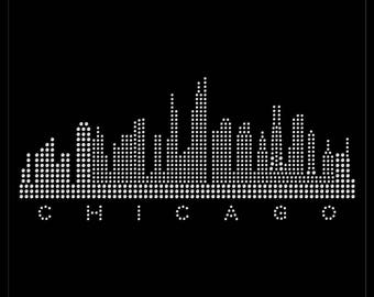 Chicago Illinois City Skyline State Love Rhinestone Iron On Transfer Hotfix Bling