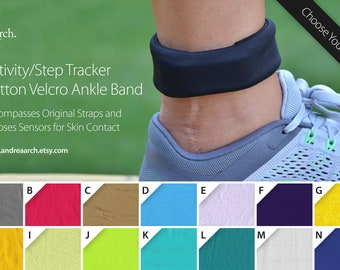 Solid Color Activity/Step Tracker 100% Cotton Ankle Band – Encompasses Original Straps and Exposes Sensors for Skin Contact