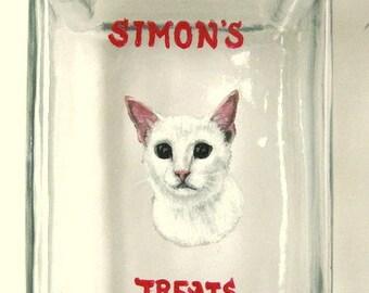 White Cat, Pet Treat Jar, Custom Pet Portrait Painting, Pet Storage Jar, Custom Canister, Hand Painted Cat, Feline Art, Pet Treat Container