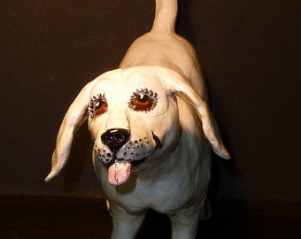 Folk Art White Dog LARGE Sculpture handmade