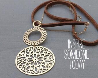 Unique Necklaces for women, Long Statement Necklace, large gold pendant necklace, Gold Mandala Necklace, Gold flower of life necklace