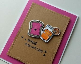 A Toast to the Happy Couple Card - Food Pun Wedding Engagement Card - Toast & Juice Punny Card - Breakfast Pun Card - Cute Pun Congrats Card