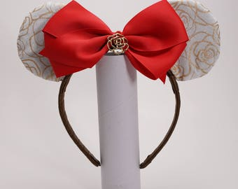 Beauty and the Beast Rose Inspired Mickey Ears with Removable Bow