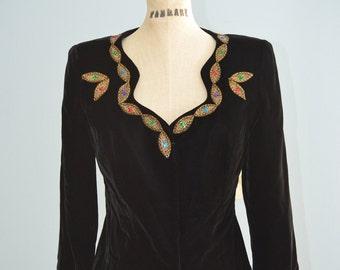 Black Velvet Sequined Beaded Gold Leaves Jacket Blazer Short Cropped
