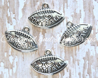 3 pewter I Heart Football charms (CM65)