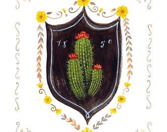 Barrel Cactus Print, Barrel Cactus Art Print, Cactus Illustration, Cactus Print, Cactus Fine Art Print