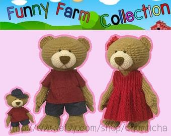 Funny farm B Bear 22 inches - PDF amigurumi crochet pattern