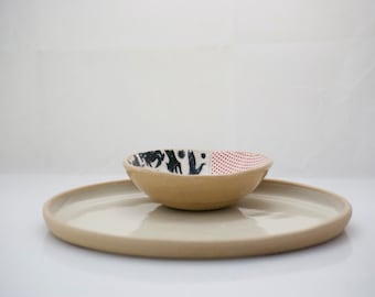 Pottery chip and dip , Houswarming gift , Party platter, Cheeses tray , Chip & Dip pottery, platter dipping bowl, wedding gift