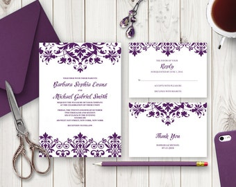 "Wedding Invitation Suite ""Cathedral"", Plum Purple. Printable Wedding Word Templates - Invite, RSVP Card and Thank You Note. Digital Download"