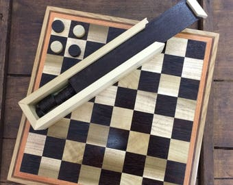 Chessboard-dama handmade wood inlay