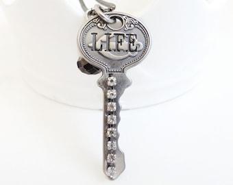 Katherine - life key - antique style key necklace crystals -  key necklace