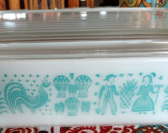 On Sale Butterprint/Amish Pattern Pyrex Dish 0503 1 1/2 Quart  Turquoise Color Made in USA Ovenware/Refrigerator Dish/Casserole