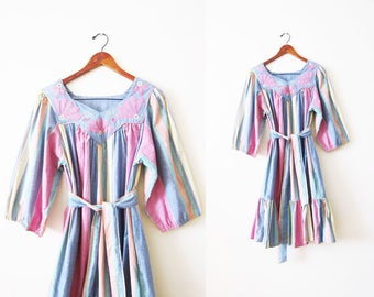70s Dress / 1970s Boho Sundress / Embroidered Dress / Striped Mumu / Hippie Dress / Pastel Dress / Floral Dress / Gypsy Dress