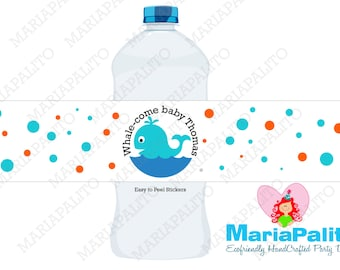 Whale Water Bottle Labels, Baby shower water bottle labels, whale baby shower, 5 Personalized baby shower party Labels   A1069