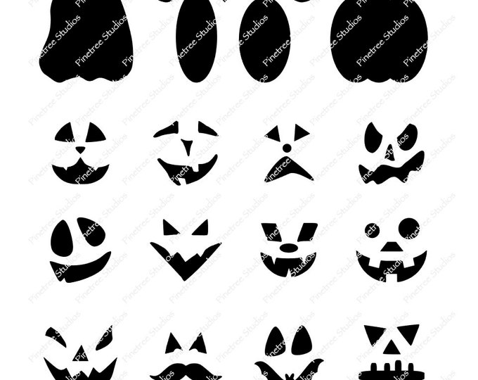 Pumpkins and Faces  SVG Digital Download / Cuttable / Clip Art / Stencil / Silhouette / Cricut / Printable / Color Book / Decal