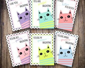 Printable Kid's Valentine's Day Cards, Mod Cat Valentines, Kitty Valentine Cards, Classmate Cards, Kids Tween Valentine -INSTANT DOWNLOAD