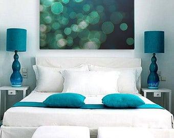 "Abstract Ocean Art- blue bokeh photography 11x14 teal beach home decor 16x20 large coastal wall art 8x10 sparkle wall decor 24x36 ""Shimmer"""