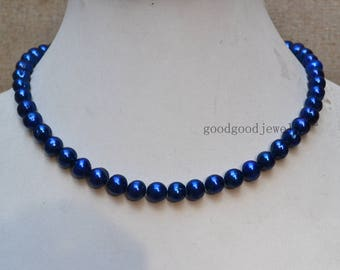 Navy Blue Pearl Necklace,Real Freshwater Pearl 8-9 mm Necklace,wedding necklace,pearl jewelry,statement necklace ,women necklace,bridesmaid