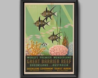 Great Barrier Reef - Queensland - Australia Travel - Australia Poster - Vintage Australia -Travel Decor-Queensland Posters-Ttravel Australia