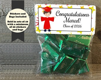 Graduation Stickers and Bags, Graduation Favors, Graduation Party Favors, Class of 2017, Class of 2017 Favors, Personalized Graduation Bags