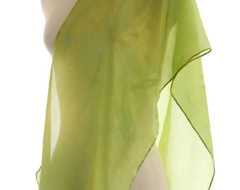 Lime green silk scarf vibrant green shawl naturally dyed silk chartreuse scarf, eco gift sustainable fashion botanically dyed accessory gift