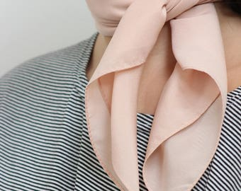 Pastel Pink Silky Neckerchief Scarf