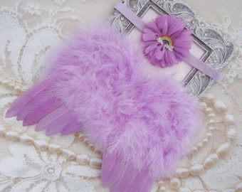Rainbow Baby Purple Angel Baby Wings AND/OR Rainbow Baby Headband, bebe foto, by Lil Miss Sweet Pea