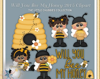 Honey Bee Clipart, Valentine Baby