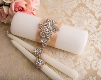 Crystal Unity Candles Set, Rhinestone Wedding Candles, Blush Wedding Unity Candle Set, Crystal Wedding Candle, Custom Wedding Candles