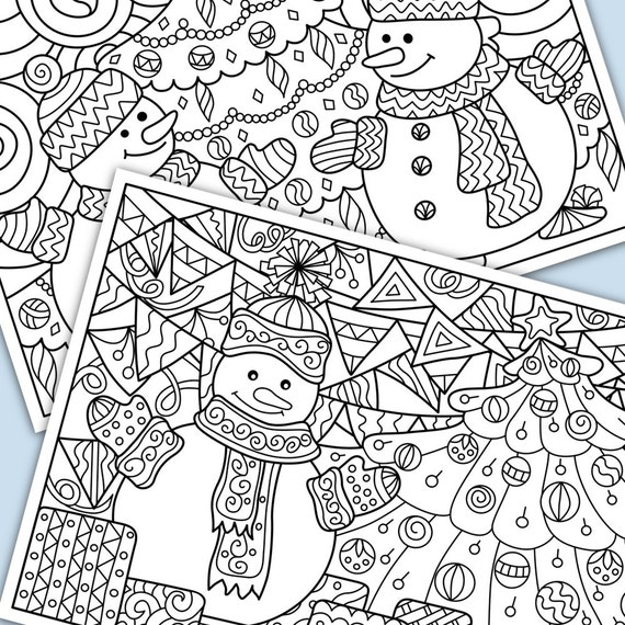 Christmas Decorations Snowmans And Tree Printable Coloring Pages