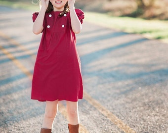1970's Style Dark Red Linen Blend Dress children, child, girl