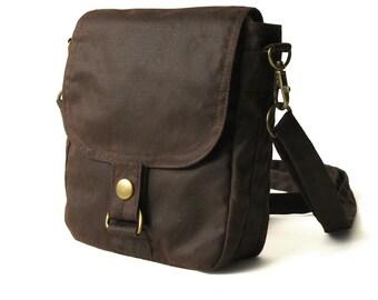 Waxed Canvas Hip Bag, Waxed Canvas Bag, Vegan Hip Pouch, Waxed Canvas Pouch - The Brown Hipster Plus
