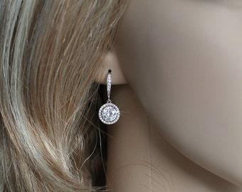Handmade Micro Pave Cubic Zirconia CZ Dangle Bridal Earrings, Bridal, Wedding (Sparkle-2240)