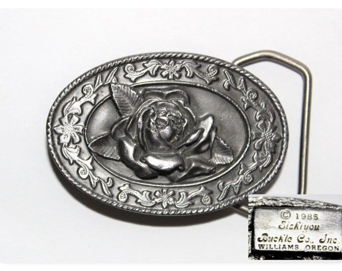 Vintage 1985 Siskiyou Belt Buckle Wild Rose