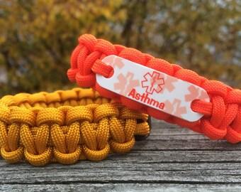 Asthma Medical Alert bracelet for Adults and Kids | Asthma bracelet | Waterproof lead & nickel free | Orange Emergency wristband jewelry