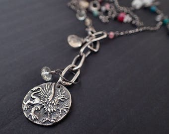 Oxidized Silver Statement Necklace,Griffin Coin Medallion Long Necklace,Lariat Y Layered Pendant,Multi Strand Moonstone,Boho,Bohemian,Garnet
