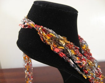 Silver, Red, Grey nd Yellow Trellis Necklace / Crochet Necklace Item No. 105B