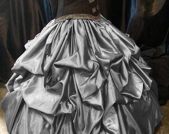 Silver  Bustle Pick up Skirt Victorian Renaissance Steampunk Wedding Victorian Rococo custom sized