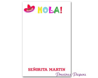 Personalized spanish teacher notepad with sombrero Spanish teacher gift