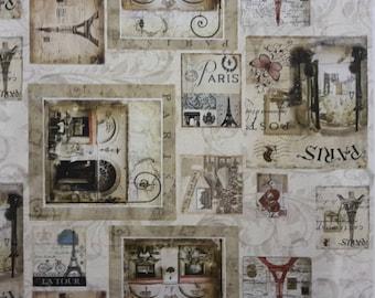 Coupon Paris postcard design fabric