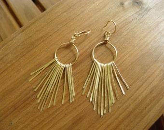 """Earrings... """"Golden Paths"""" hammered brass chandelier earrings."""